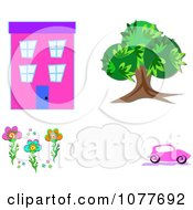 Clipart Building Tree Car Flowers And Smog Royalty Free Vector Illustration by bpearth