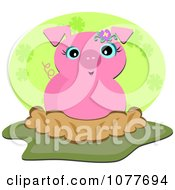Clipart Cute Piglet In Mud Royalty Free Vector Illustration