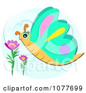 Clipart Butterfly Near Flowers Royalty Free Vector Illustration