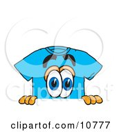 Clipart Picture Of A Blue Short Sleeved T Shirt Mascot Cartoon Character Peeking Over A Surface by Toons4Biz