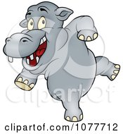 Clipart Happy Dancing Hippo Royalty Free Vector Illustration by dero