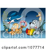 Clipart Sea Creatures Playing At The Bottom Of The Ocean Royalty Free Illustration by dero