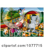 Clipart Animals Around A Train At A Stop Royalty Free Illustration by dero