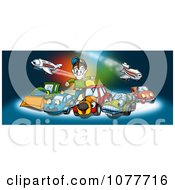Clipart Boy Playing With Cars And Airplanes Royalty Free Illustration by dero
