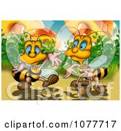 Clipart Two Bees By Mushrooms Royalty Free Illustration by dero