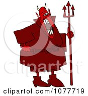 Clipart Red Devil Laughing And Holding A Pitchfork Royalty Free Vector Illustration by Dennis Cox
