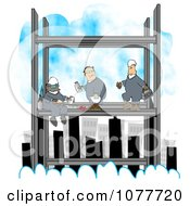 Clipart Three Skyscraper Iron Workers Eating Lunch Above The Clouds Royalty Free Illustration by Dennis Cox