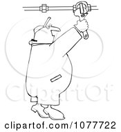 Clipart Outlined Plumber Turning On A Pipe Valve Royalty Free Vector Illustration by Dennis Cox