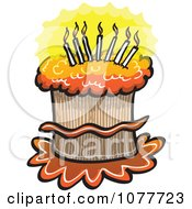 Clipart Lit Candles On A Birthday Cake Royalty Free Vector Illustration