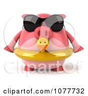 Clipart 3d Chubby Pig Wearing Shades And An Inner Tube And Facing Front Royalty Free CGI Illustration