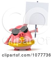 Clipart 3d Chubby Pig Wearing Shades And An Inner Tube And Holding A Sign 2 Royalty Free CGI Illustration