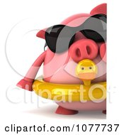 Clipart 3d Chubby Pig Wearing Shades And An Inner Tube And Holding A Sign 1 Royalty Free CGI Illustration