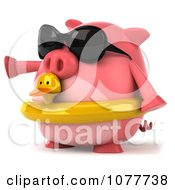 Clipart 3d Chubby Pig Wearing Shades And An Inner Tube And Pointing Left Royalty Free CGI Illustration