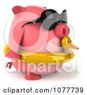 Clipart 3d Chubby Pig Wearing Shades And An Inner Tube And Facing Right Royalty Free CGI Illustration