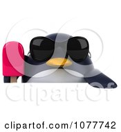 Clipart 3d Chubby Penguin Holding A Popsicle Over A Sign Royalty Free CGI Illustration