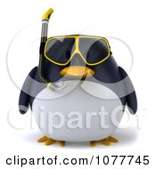 Clipart 3d Chubby Snorkel Penguin Facing Front Royalty Free CGI Illustration