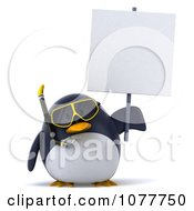 Clipart 3d Chubby Snorkel Penguin With A Sign 2 Royalty Free CGI Illustration