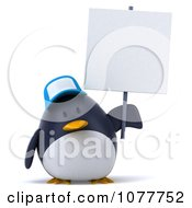 Clipart 3d Chubby Penguin Wearing A Hat And Holding A Sign 2 Royalty Free CGI Illustration