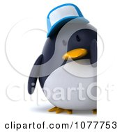 Clipart 3d Chubby Penguin Wearing A Hat And Holding A Sign 1 Royalty Free CGI Illustration