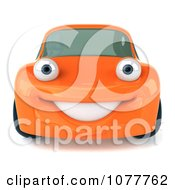 Clipart 3d Orange Porsche Smiling Royalty Free CGI Illustration by Julos