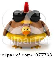 Clipart 3d Chubby Chicken Wearing An Inner Tube And Facing Front Royalty Free CGI Illustration
