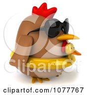 Clipart 3d Chubby Chicken Wearing An Inner Tube And Facing Right Royalty Free CGI Illustration