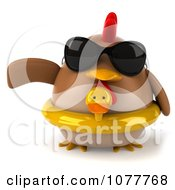 Clipart 3d Chubby Chicken Wearing An Inner Tube And Pointing Left 1 Royalty Free CGI Illustration