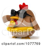 Clipart 3d Chubby Chicken Wearing An Inner Tube And Pointing Left 2 Royalty Free CGI Illustration