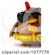 Clipart 3d Chubby Chicken Wearing An Inner Tube And Looking Around A Blank Sign Royalty Free CGI Illustration