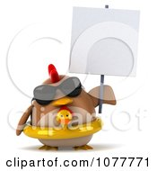 Clipart 3d Chubby Chicken Wearing An Inner Tube And Blank Sign Royalty Free CGI Illustration