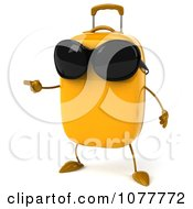 Clipart 3d Yellow Suitcase Wearing Shades And Pointing Left Royalty Free CGI Illustration