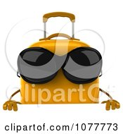 Clipart 3d Yellow Suitcase Wearing Shades With A Sign 1 Royalty Free CGI Illustration