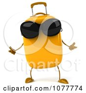Clipart 3d Yellow Suitcase Wearing Shades And Shrugging Royalty Free CGI Illustration