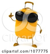 Clipart 3d Yellow Suitcase Wearing Shades With An Idea Royalty Free CGI Illustration