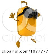 Clipart 3d Yellow Suitcase Wearing Sunglasses And Jumping Royalty Free CGI Illustration