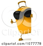 Clipart 3d Yellow Suitcase Wearing Shades With A Sign 2 Royalty Free CGI Illustration