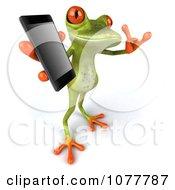 Clipart 3d Springer Frog Holding A Mobile Phone 3 Royalty Free CGI Illustration