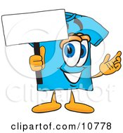 Blue Short Sleeved T Shirt Mascot Cartoon Character Holding A Blank Sign