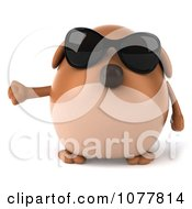Clipart 3d Chubby Brown Dog Wearing Sunglasses And Gesturing Left Royalty Free CGI Illustration
