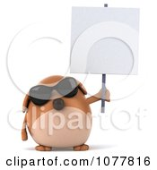 Clipart 3d Chubby Brown Dog Wearing Shades And Holding A Sign 1 Royalty Free CGI Illustration