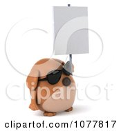 Clipart 3d Chubby Brown Dog Wearing Shades And Holding A Sign 2 Royalty Free CGI Illustration