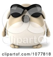 Clipart 3d Chubby Tan Dog Wearing Sunglasses And Facing Front Royalty Free CGI Illustration