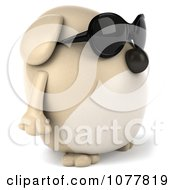 Clipart 3d Chubby Tan Dog Wearing Sunglasses And Facing Right Royalty Free CGI Illustration
