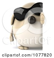 Clipart 3d Chubby Tan Dog Wearing Sunglasses And Looking Around A Sign Royalty Free CGI Illustration