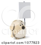 Clipart 3d Chubby Tan Dog Holding A Sign 4 Royalty Free CGI Illustration