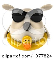 Clipart 3d Chubby Tan Dog Wearing Shades And An Inner Tube 1 Royalty Free CGI Illustration