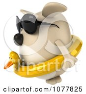 Clipart 3d Chubby Tan Dog Wearing Shades And An Inner Tube 2 Royalty Free CGI Illustration
