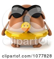 Clipart 3d Chubby Brown Dog Wearing Shades And An Inner Tube 1 Royalty Free CGI Illustration