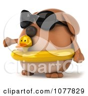 Clipart 3d Chubby Brown Dog Wearing Shades And An Inner Tube 2 Royalty Free CGI Illustration