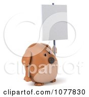 Clipart 3d Chubby Brown Dog Holding A Sign 2 Royalty Free CGI Illustration